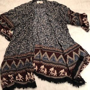 ANTHRO -SKIES ARE BLUE elephant print cardi